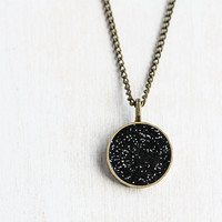 Black Sparkle Circle Pendant Necklace