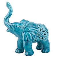 One Kings Lane - Elephants in the Room - Lucky Elephant Objet, Aqua