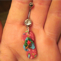 Belly Button Ring Flip Flop Fimo Polymer Clay Barbell Navel Naval