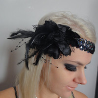 1920s Black Feather Flapper Headband Races | Luulla