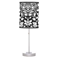 Indian Black and White Floral Geometric Pattern Desk Lamp