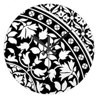 Indian Black and White Floral Geometric Pattern Clocks