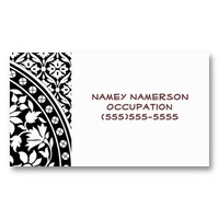 Indian Black and White Floral Geometric Pattern Business Cards