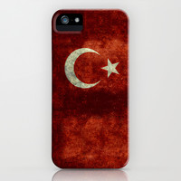The National flag of Turkey - Distressed worn version iPhone & iPod Case by Bruce Stanfield