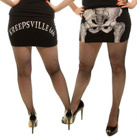Skelli Bone White Mini Skirt Kreepsville 666 Gothic Horror Punk Psychobilly Zombie Clothing Skirts Halloween Costumes