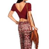 Promo-Burgundy Cross Back Crop Tee