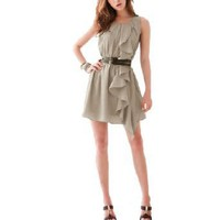 Allegra K Ladies Ruffled Accent Chiffon Scoop Neck Mini Dress Khaki XS