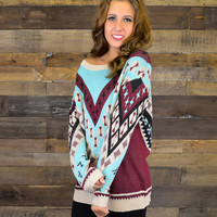 Cranberry Clouds Geometric Sweater