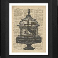 Bird Cage On Vintage Dictionary Page by TexasGirlDesigns on Etsy