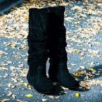 Qupid Neo-144 Black Mid Calf Slouchy Suede Flat Boot - Shoes 4 U Las Vegas