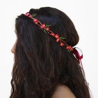 Tiny Pink Daisy Crown, Daisy Headband. Hippie Headband, Pink Flower Crown, Summer Accessory