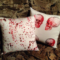 Blood splatter cushions 18x18 bloody Horror Halloween monster  zombie pillow zombie bedding