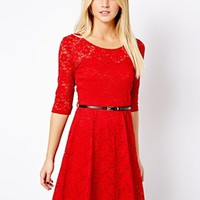 New Look 3/4 Lace Skater Dress
