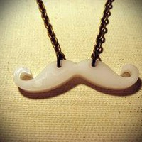 The Small White Mustache Necklace by sodalex on Etsy