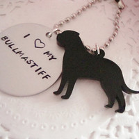 I Love My Bullmastiff Hand Stamped Keychain Black Charm Made To Order