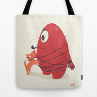 Cyclopes Monster Blob & Orange Dog Tote Bag by andy fielding