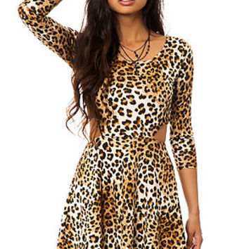 MKL Collective Dress Cheetah Ponte Skater with Cut Outs in Tan