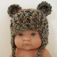 Little Bear Earflap Newborn Hat in by UnderTheOakTreesKids on Etsy