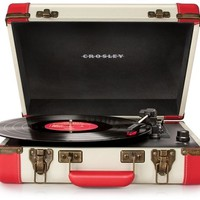 Crosley Executive Portable USB Turntable CR6019A-RE - Plays Records and Converts Records to Digital - Red & White - Whimsical & Unique Gift Ideas for the Coolest Gift Givers