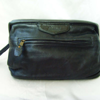Vintage Unisex Doctors Black Leather Handbag Bag With Small Handle Italian Bags Biracci Many Zippered Pockets Ready To Ship