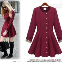 Women Long Sleeve Trench Coat Dress