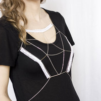 Body harness jewelry - Trillion - White and silver