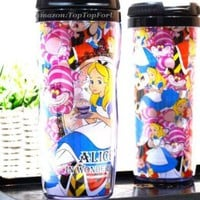 Disney Alice in Wonderland Cheshire Cat Plastic Double Wall Thermos Travel Mug Coffee Tea Cup 13-ounce
