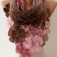 Mother's Day - Pink - Brown Wool Crochet Shawl Scarf - Handknit - Winter Scarf