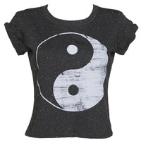 Ladies Yin & Yang 90's Speckled Rolled Sleeve T-Shirt : TruffleShuffle.com