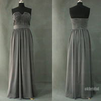 Gray pom dresses, Gray bridesmaid dresses, Grey prom dresses, cheap bridesmaids dress, affordable prom dresses, dresses for prom,  RE402