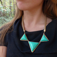 Triangle Turquoise Mint Triangle Statement Necklace, Turquoise Bib Necklace, mint bib necklace, Geometric triangle necklace, mint  necklace