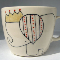 Handmade Coffee Mug Elephant and Crown by abbyberkson on Etsy