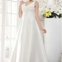 Fashion A-line V-neck Ivory Satin Wedding Dress With Bowknot