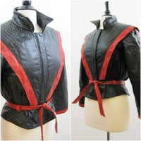 FALL DEAL 80s Leather Jacket Vintage Womens Thriller Style Red Black S M