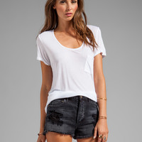 LA Made Rolled-Up Open Neck Tee in White