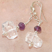 Clear Quartz Amethyst Handmade Gemstone Earrings OOAK Beaded Jewelry