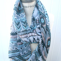 Aztec  Print Tribal Scarf Multicolor Soft Scarf  Fall by PIYOYO
