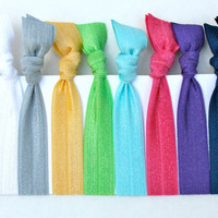 24 hr DAILY FLASH SALE - Fall Trend 2013 Yoga Hair Ties (10) No Dent Hair Bands - Like EmiJay Elastic Hair Ties - Ribbon Bracelet Grab Bag