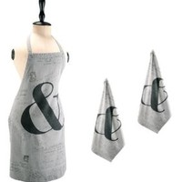 French Reims Postal Script Kitchen Apron and Dish Towel Set