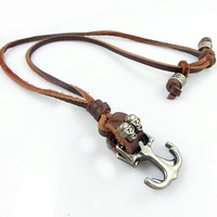 Black real Leather and alloy pendant adjustable necklace mens necklace  unisex necklace cool necklace B296