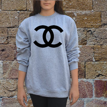 coco chanel sweater in white and gray men from celebritee on etsy. Black Bedroom Furniture Sets. Home Design Ideas