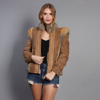 80s COYOTE trim Sheepskin COAT / Shearling Lined Soft Suede Jacket, xs-s