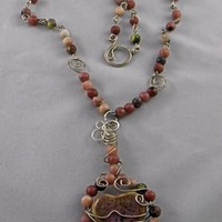 Handmade Pink Cerimic Heart and Natural Stone Necklace