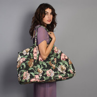 80s Floral WEEKENDER BAG / Oversized Travel School Tote