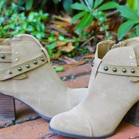 Taupe Suede Studded Booties