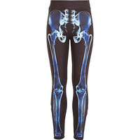 Girls blue skeleton bones scuba leggings - pants / leggings - girls