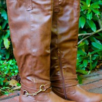 Chestnut Brown Knee High Riding Boots
