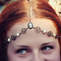 black cameo bridal/formal head chain with faux pearls