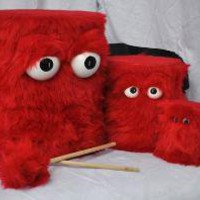 Furry Red Puppet Drums and Shaker by BeatCreatures