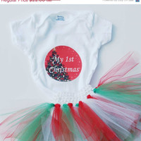 SALE Christmas tutu set- My 1st Christmas, My first Christmas, baby's 1st Christmas, baby Christmas set, baby girl tutu set, Christmas ones
